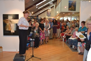 Mary McCallum launching the anthology at the Rona Gallery