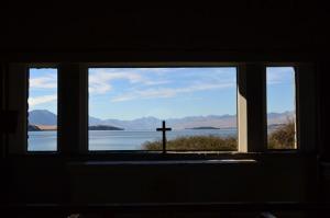 View from inside the church at Lake Tekapo